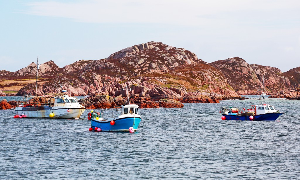 Rocky islands and boats from isle of Mull ferry terminal,
